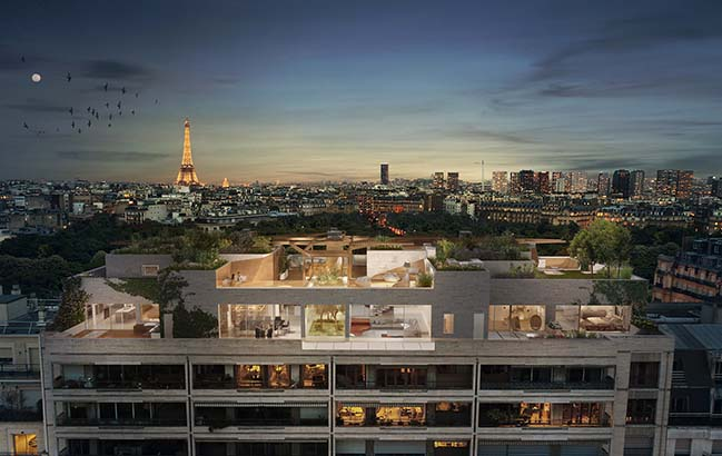 Foret Urbaine penthouse in Paris by Matteo Cainer Architecture