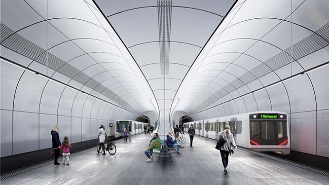 Zaha Hadid Architects with A_Lab build 2 stations on the new Fornebubanen metro line