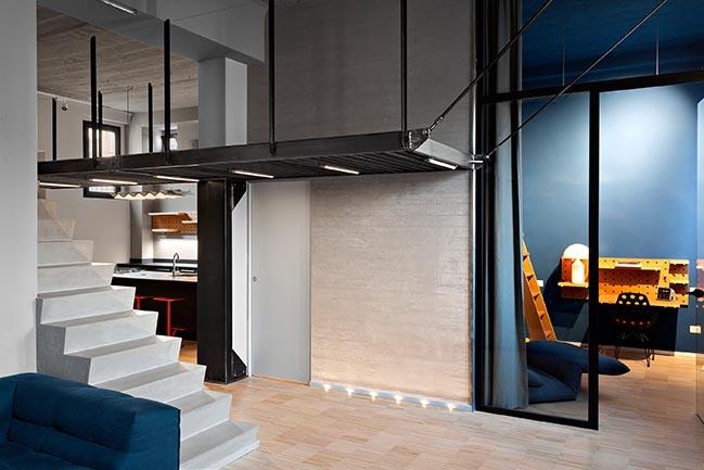Blue and concrete apartment in Milan by DVDV Studio Architects