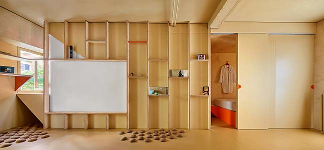 Husos Architects designs a small 46m2 apartment for a doctor and his bulldog