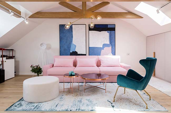 Pink Drops: A romantic attic in Bucharest by Jooca Studio