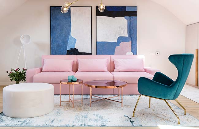 Pink Drops: A romantic attic in Bucharest by Jooca Studio