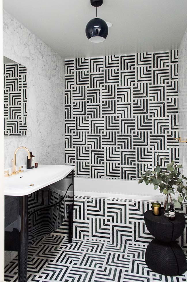 Black & White Hollywood Regency Bath by Studio SHK