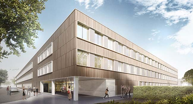 Topping-Out Ceremony for Modular School Built of Wood by gmp Architekten