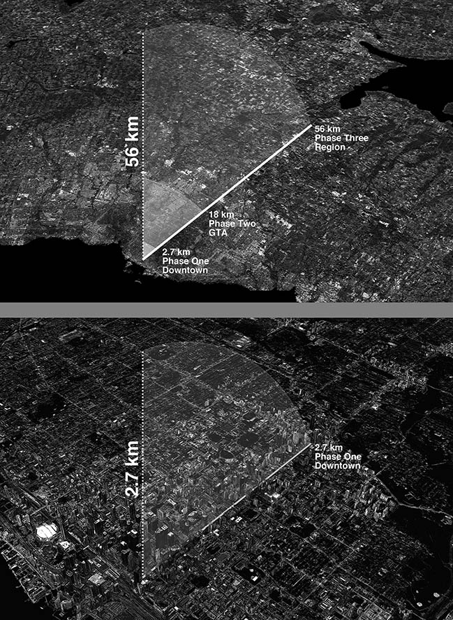 Atelier RZLBD proposes a 56km long tower in Toronto